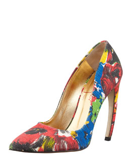 Walter Steiger Floral Pointed-Toe Bowed-Heel Pump