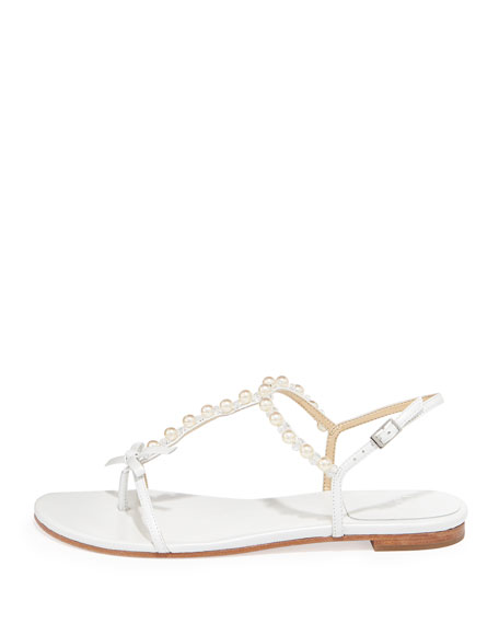 Pearlize Beaded Thong Sandal, White