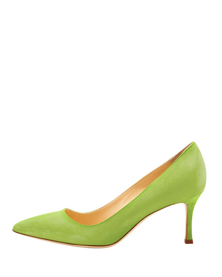 BB Suede 70mm Pump, Cocorita (Lime)