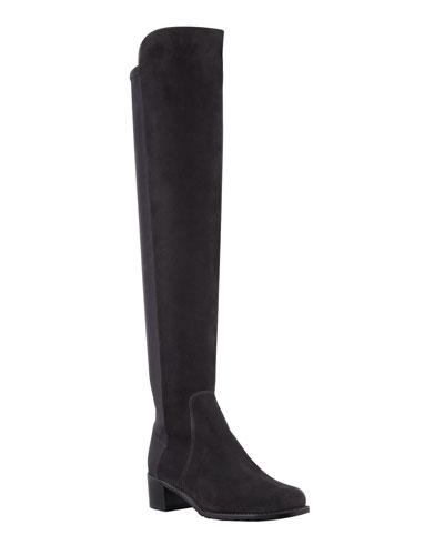 Reserve Wide Suede Stretch-Back Over-the-Knee Boots  Black