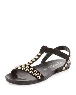 Pedro Garcia Jeril Flat Crystal Sandal, Black