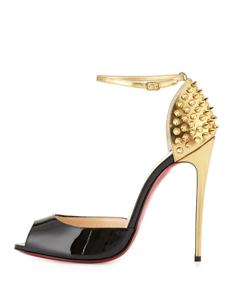 Pina Spike Red Sole Sandal, Black/Gold