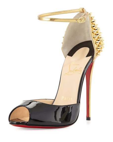 reputable site 181db 9cc83 Pina Spike Red Sole Sandal Black/Gold