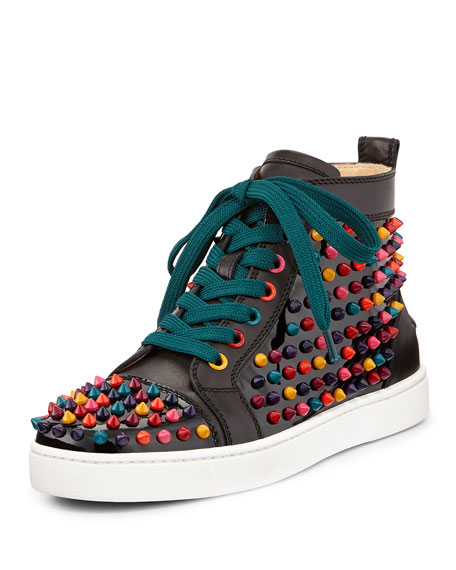 new concept af213 3941c Louis Spikes Calfskin High-Top Sneaker Black Multi