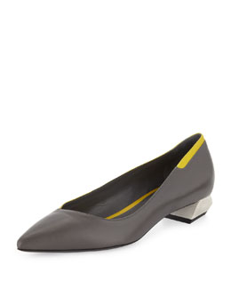 Fendi Lambskin Low-Heel Point-Toe Flat