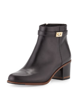Fendi Leather Ankle Bootie, Black