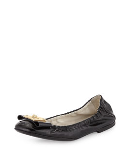 Fendi Patent Logo-Bow Ballerina Flat, Black