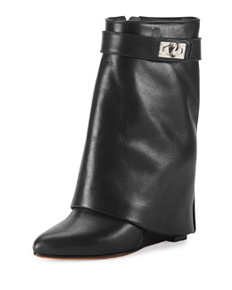 Calfskin Shark-Lock Fold-Over Bootie, Black