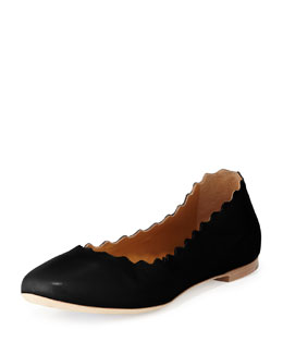 Chloe Scalloped Leather Ballerina Flat, Black