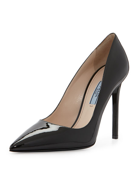 2bd2b878d3 Prada Patent Pointed-Toe Pump, Black