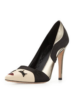 Alice + Olivia Stacey Wink Face Pump, Light Bronze