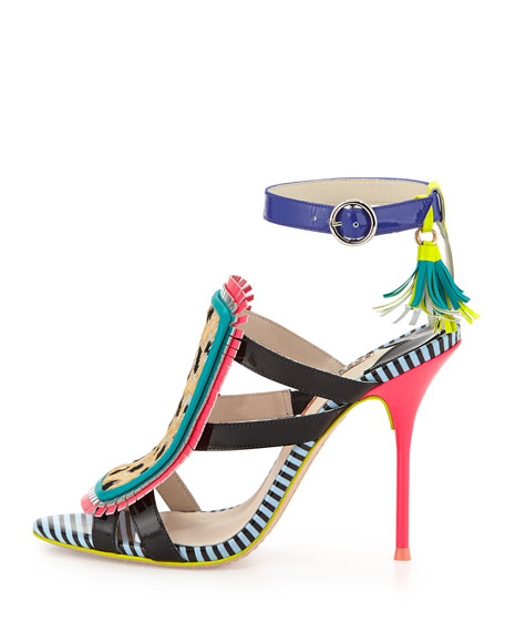 Marissa Calf Hair Fringe Sandal, Tropical Leopard