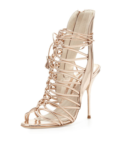 Lacey Strappy Metallic Sandal, Rose Gold
