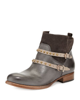 Alberto Fermani Emma Stud-Strap Ankle Boot, Anthracite/Fango
