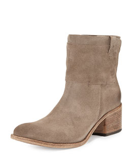 Alberto Fermani Monza Suede Snap-Panel Bootie, Sandy