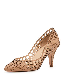 Loeffler Randall Tali Laser-Cut Leather Pump, Buff