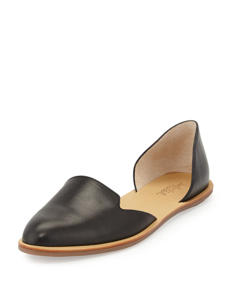 Image 1 of 1: Leather d'Orsay Flat, Black