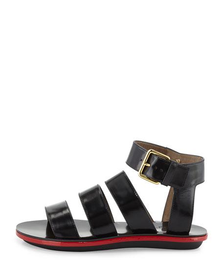 Triple Strap Leather Sandal, Coal