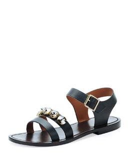 Jeweled Double-Strap Sandal, Coal