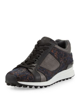 3.1 Phillip Lim Trance Mixed Leather Sneaker, Bronze Multi