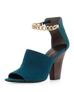 3.1 Phillip Lim Berlin Ankle Chain Suede Sandal, Teal