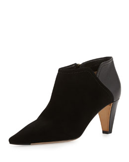 Jimmy Choo Harris Suede Point-Toe Bootie, Black