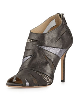 Jimmy Choo Walker Glitter Peep-Toe Bootie, Anthracite