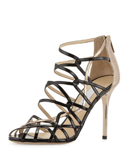Jimmy Choo Fiscal Strappy Woven Leather Sandal, Black/Nude