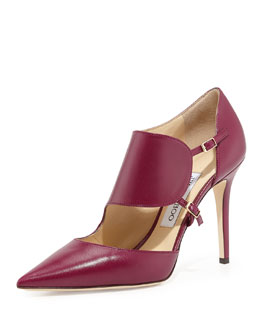 Jimmy Choo Heath Leather Monk-Strap Pump, Dark Orchid