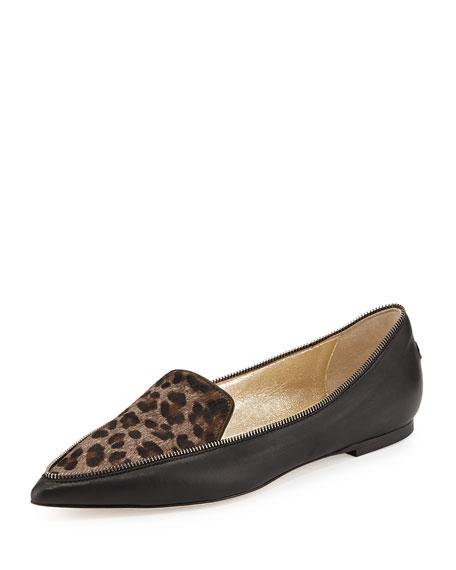 b9294b83d09a Jimmy Choo Guild Leopard-Print Calf Hair Loafer, Paloma
