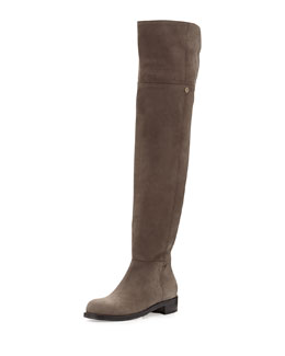 Jimmy Choo Deron Nubuck Over-the-Knee Boot, Light Quartz