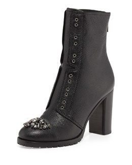 Jimmy Choo Datchet Crystal-Toe Combat Boot, Black