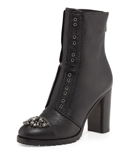 Datchet Crystal-Toe Combat Boot, Black