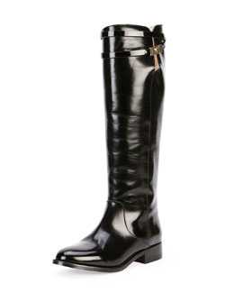 Hyson Belted Leather Knee Boot, Black