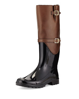 Jimmy Choo Carson Rabbit Fur-Lined Rain Boot, Antelope