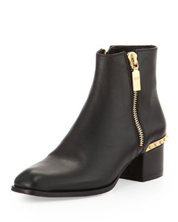 Alexander McQueen Spiked Side-Zip Ankle Boot, Black