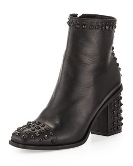 Alexander McQueen Studded Cap-Toe Ankle Boot, Black