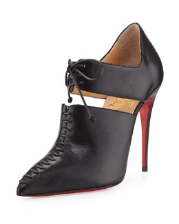 Christian Louboutin Corsita Cutout Leather Red Sole Ankle Boot, Black