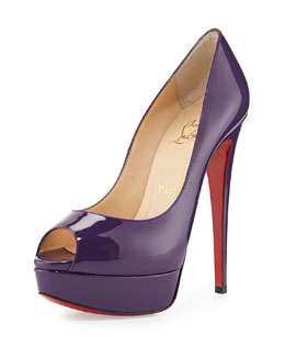 Christian Louboutin Lady Peep Patent Red Sole Pump, Violet