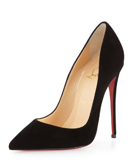 Christian Louboutin So Kate Suede Red Sole Pump, Black