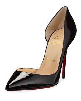 Christian Louboutin Iriza Patent Open-Side Red Sole Pump, Black