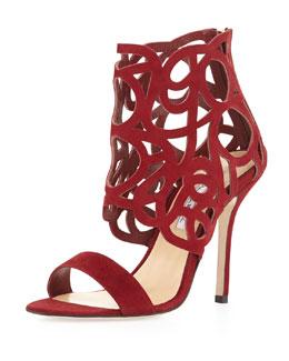 Oscar de la Renta Cutout Suede Glove Sandal, Cardinal