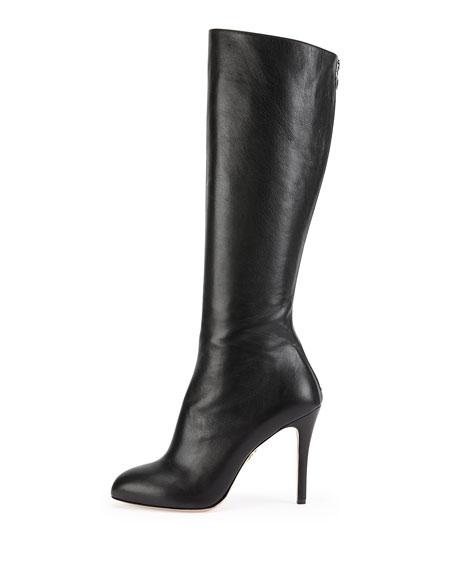 Hannah Leather Knee Boot, Onyx