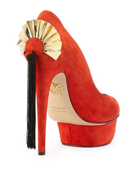 Fantastic Dolly Suede Fan Tassel Pump, Red