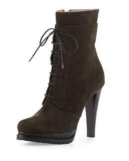 Giorgio Armani Military Suede Lace-Up Zip Boot, Dark Gray