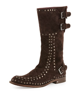 Laurence Dacade Gavroche Suede Mid-Calf Boot, Dark Brown