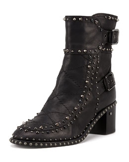 Laurence Dacade Badely Double-Buckle Boot, Black/Ruthenium