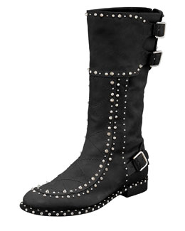 Laurence Dacade Baltazar Stud Buckle Mid-Calf Boot, Black/Ruthenium