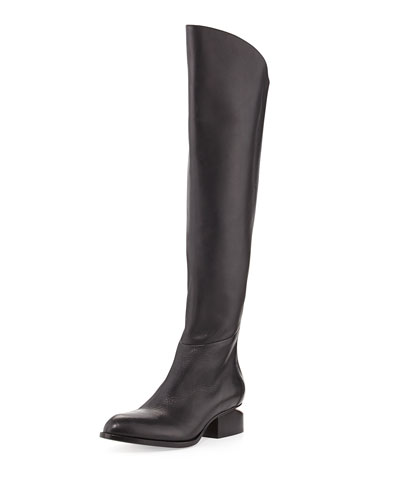 Sigrid Lift-Heel Leather Knee Boot, Black