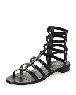 Stuart Weitzman Caesar Stretch Gladiator Sandal, Black (Made to Order)